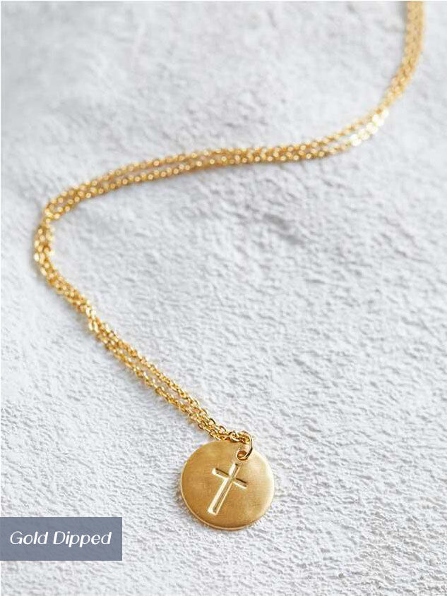 Engraved Cross Necklace - Gold - Altar'd State