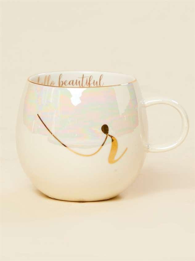 Hello Beautiful Iridescent Monogram Mug - R - Altar'd State