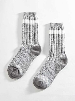 Striped Crew Sock - Grey - Altar'd State