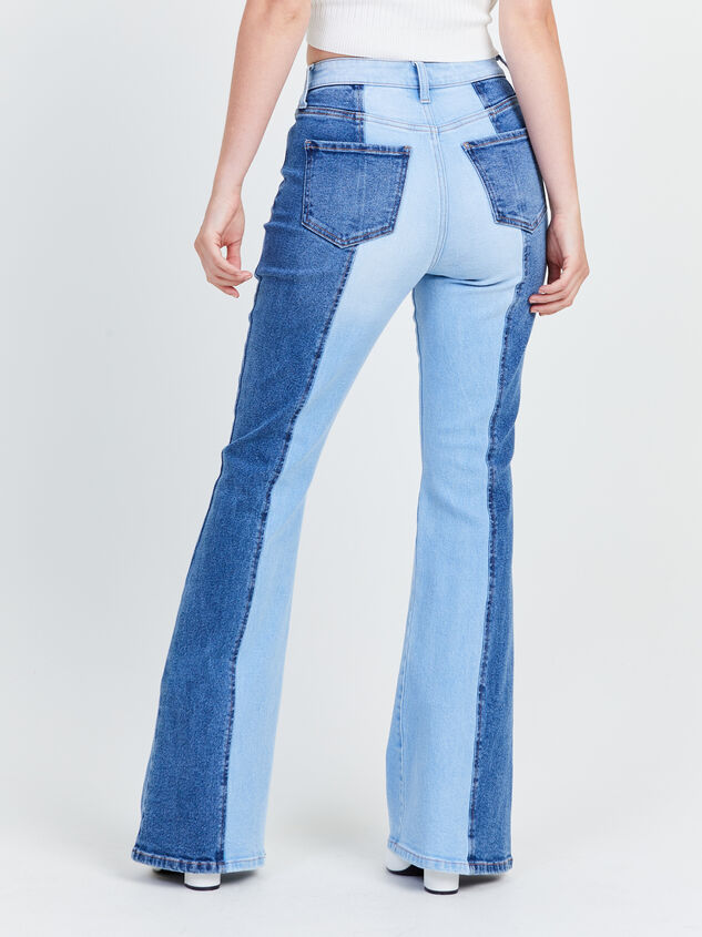 Two Toned Flare Jeans Detail 4 - Altar'd State