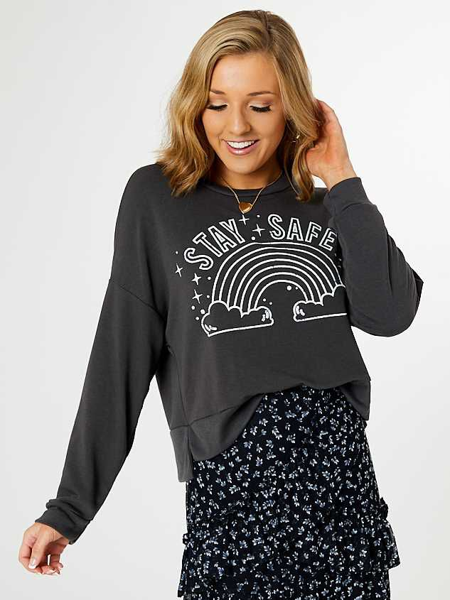 Stay Safe Rainbow Pullover - Altar'd State