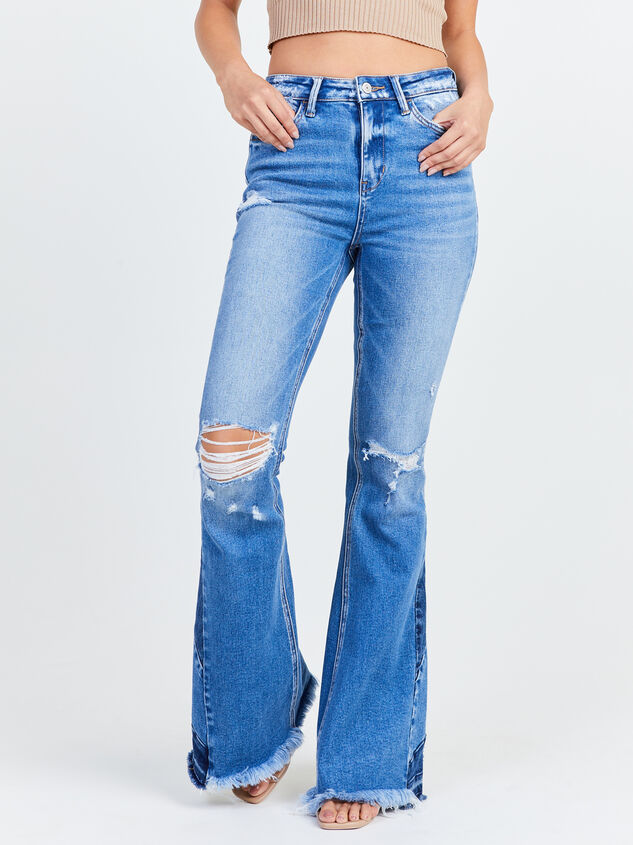 Distressed Piece Flare Jeans Detail 2 - Altar'd State