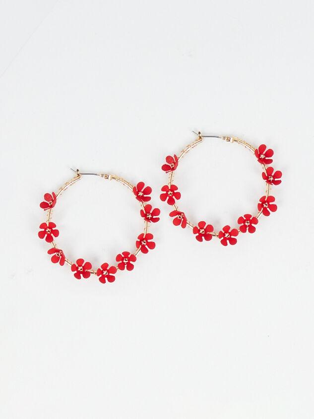 Alison Hoop Earrings - Red - Altar'd State