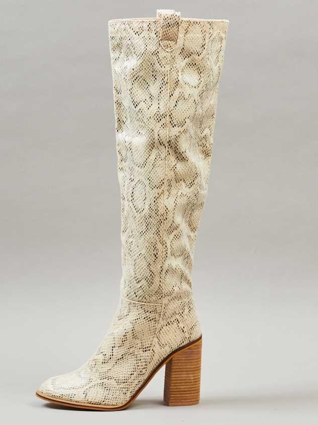 Angel Snakeskin Knee High Boots Detail 5 - Altar'd State