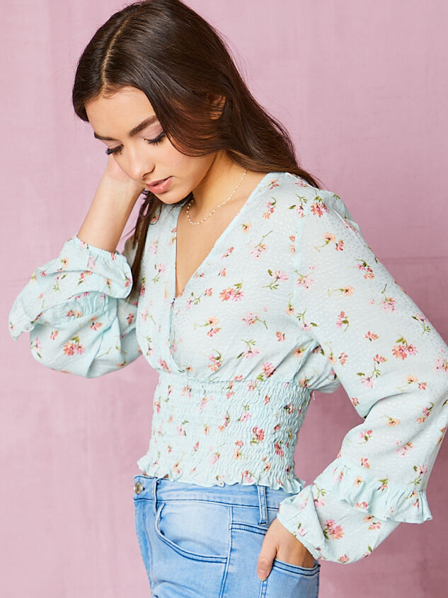 Wiley Floral Smocked Top Detail 2 - Altar'd State