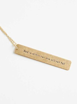 God is Within Her Bar Necklace - Altar'd State