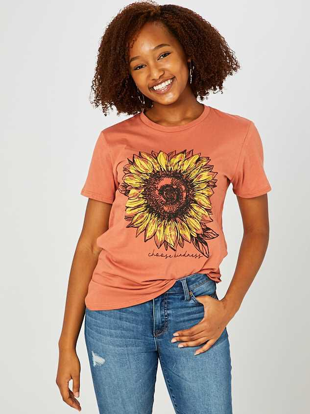 Choose Kindness Sunflower Top - Orange - Altar'd State