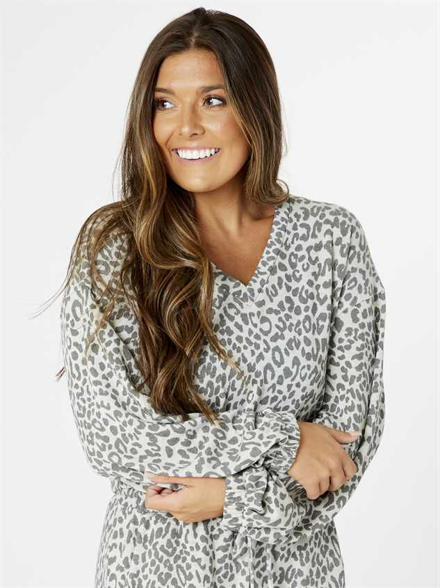 Leopard Lounge Top - Grey - Altar'd State