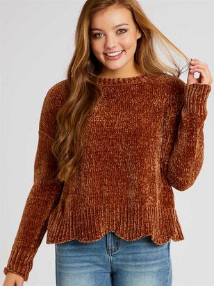 Scalloped Chenille Sweater - Altar'd State
