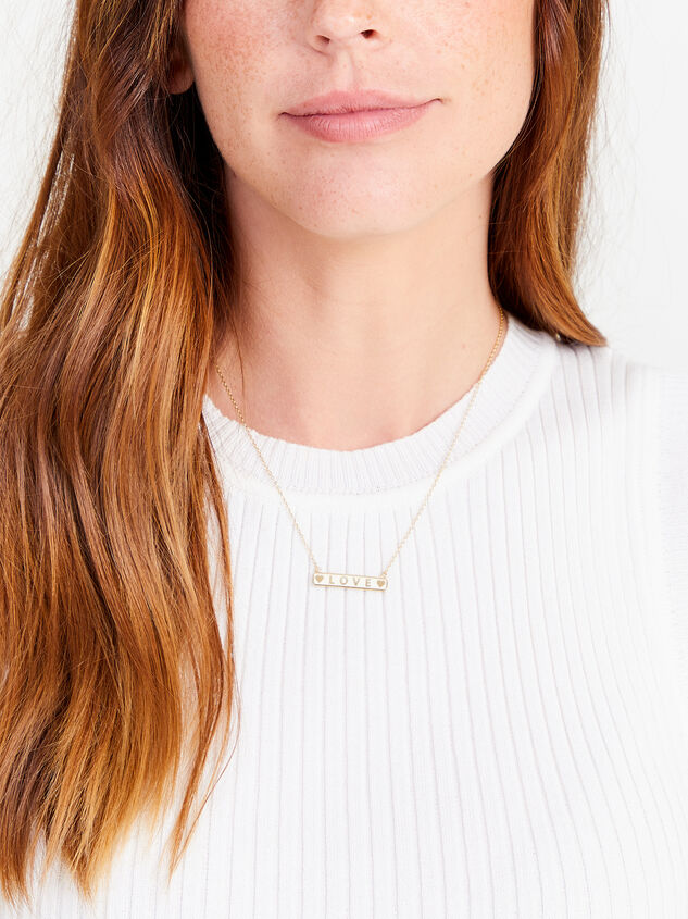 14k Gold Dipped Love Necklace Detail 3 - Altar'd State