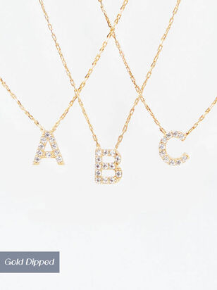 18k Gold Dainty Pave Initial Collection - Altar'd State