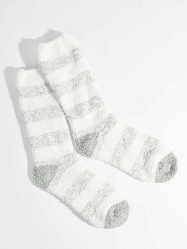 Striped Cozy Socks - Silver - Altar'd State