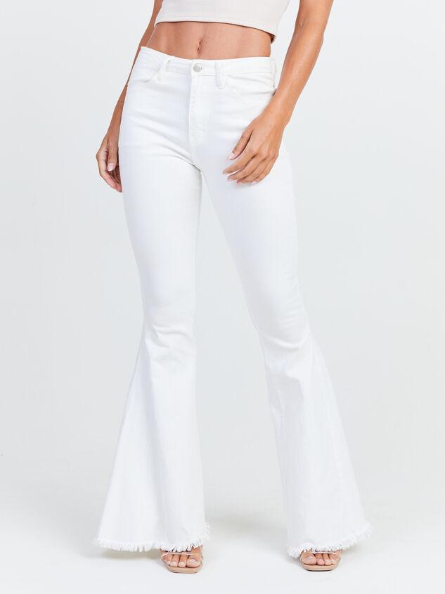 Tennley White Flare Jeans Detail 3 - Altar'd State
