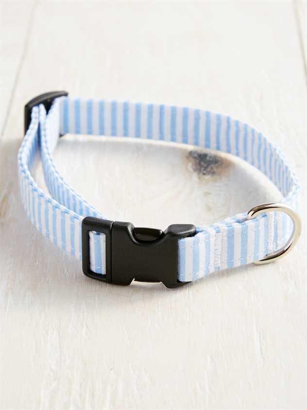Bear & Ollie's Blue Seersucker Collar - Medium Detail 2 - Altar'd State