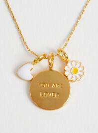 18k Gold White Mini Heart Charm Detail 2 - Altar'd State
