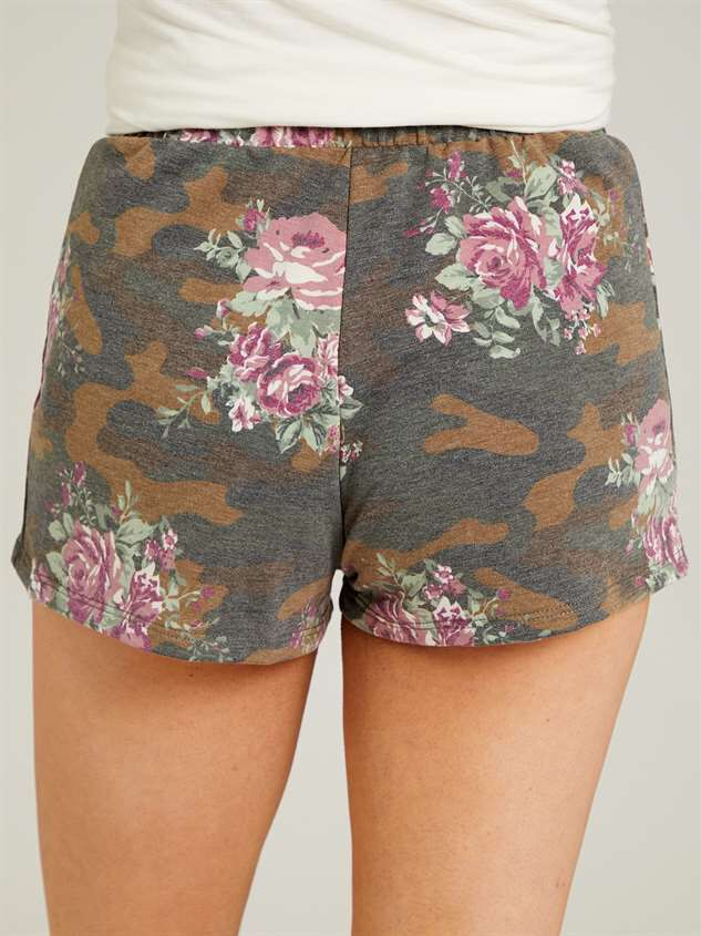 Camo Floral Sleep Shorts Detail 4 - Altar'd State