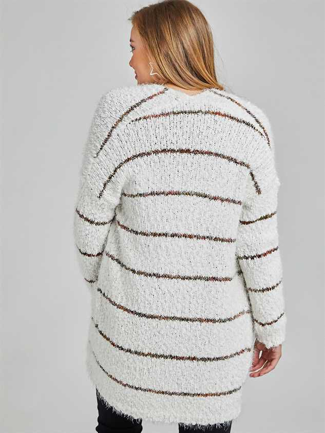 Spice Striped Eyelash Cardigan Sweater Detail 4 - Altar'd State