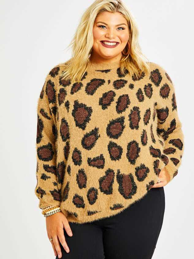 Leopard Pullover Sweater Detail 2 - Altar'd State