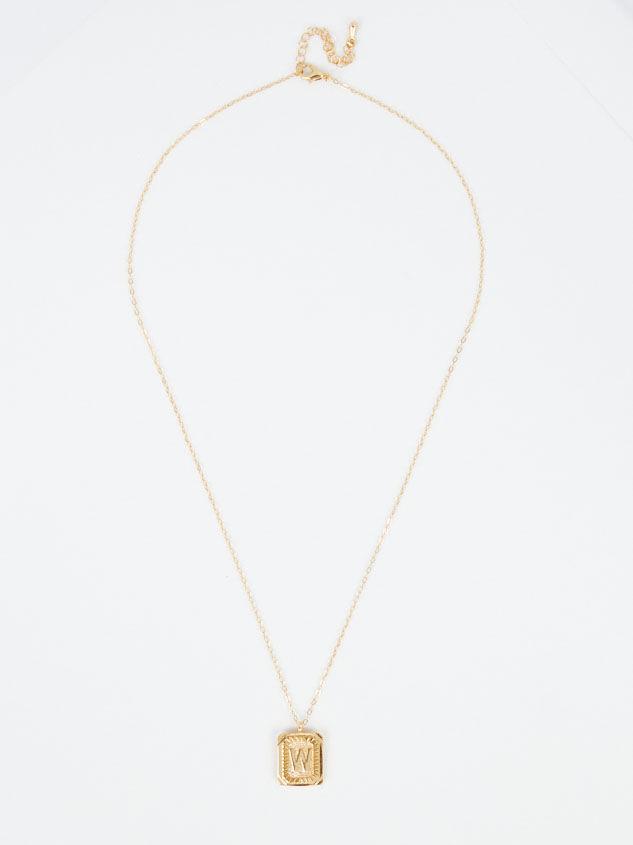Burst Tag Monogram Necklace - W Detail 3 - Altar'd State