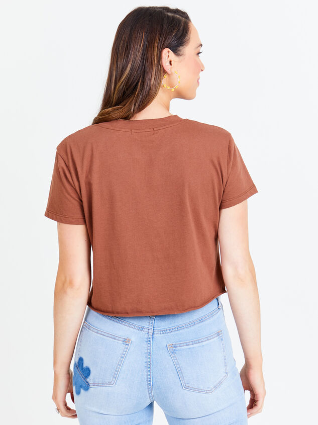 Here Comes the Sun Cropped Tee - Brown Detail 2 - Altar'd State
