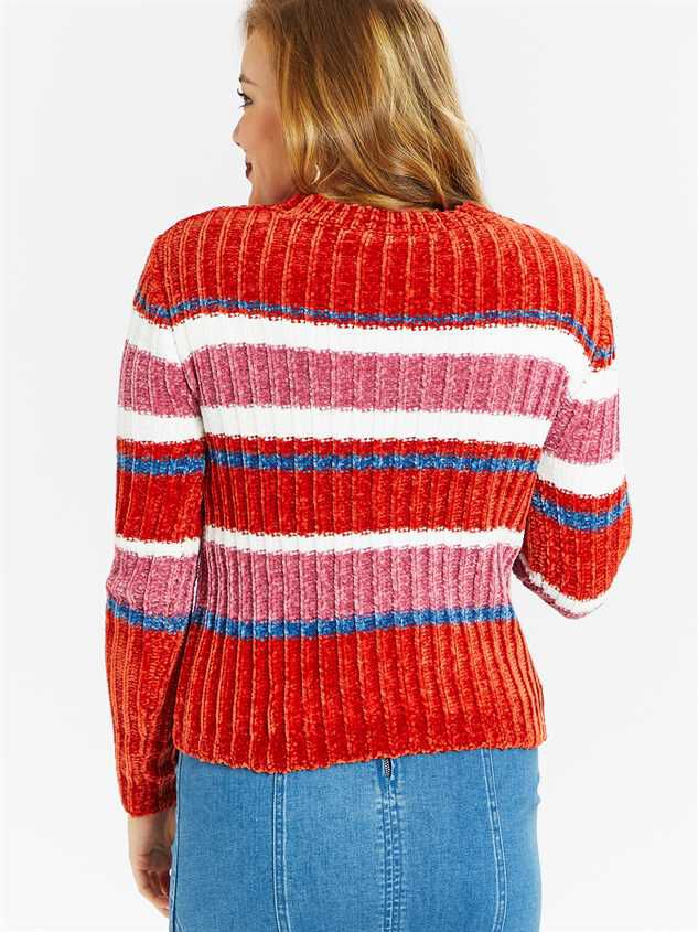 Eversoft Chenille Multi Stripe Sweater Detail 3 - Altar'd State