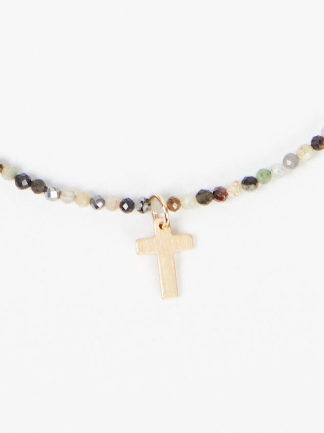 Beaded Cross Necklace - Multi Detail 3 - Altar'd State
