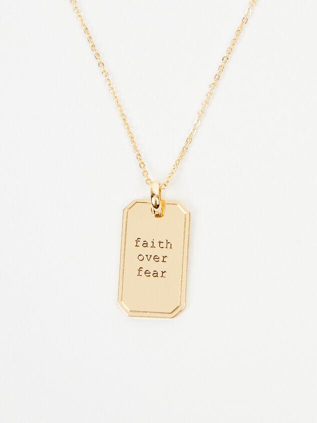Faith Over Fear Tag Necklace Detail 2 - Altar'd State