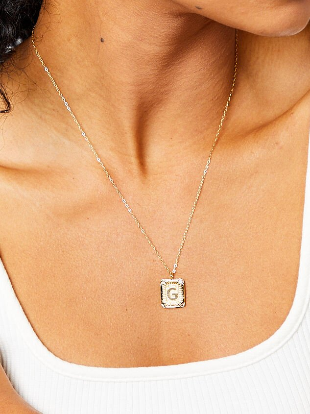 Burst Tag Monogram Necklace - G Detail 2 - Altar'd State