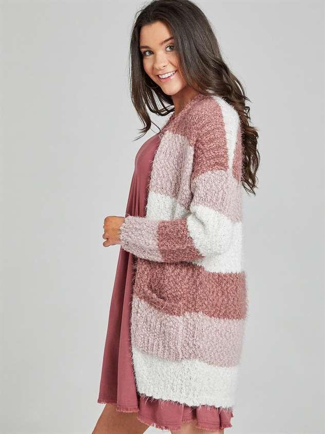 Eyelash Color Block Cardigan Sweater Detail 3 - Altar'd State