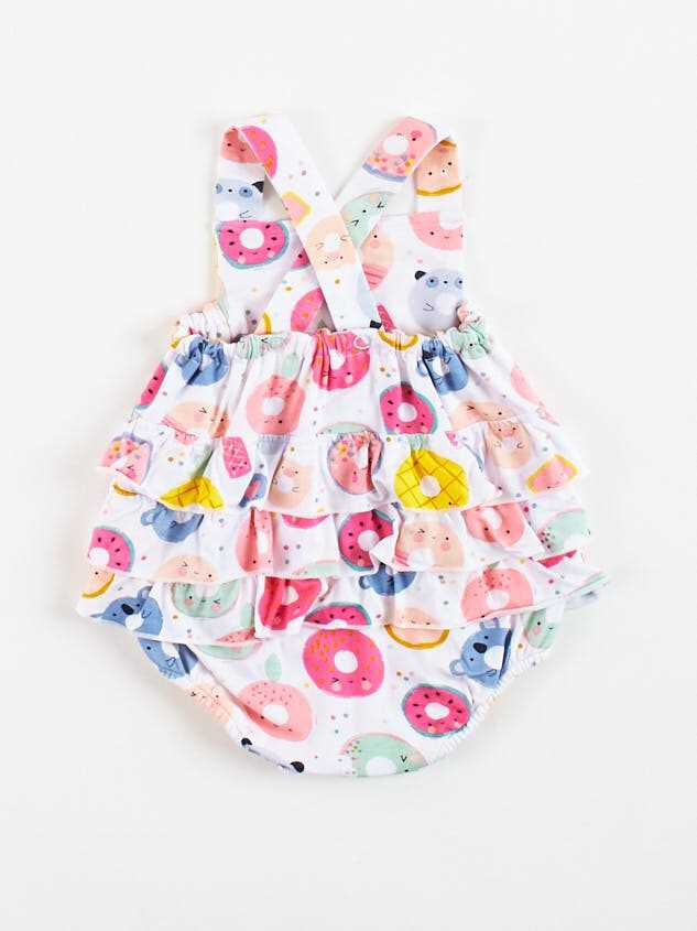 Tullabee Donut Smiles Ruffle Sunsuit Detail 2 - Altar'd State