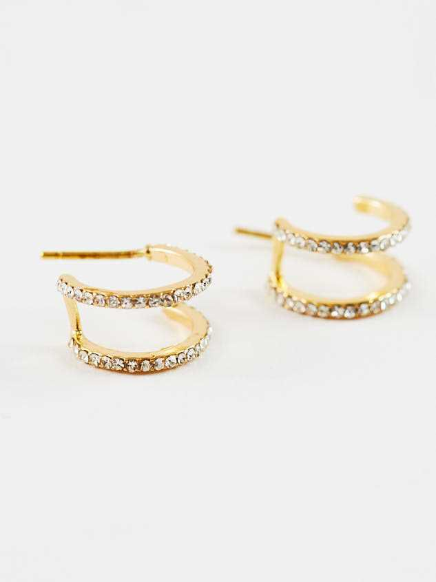 Double Hoop Earrings - Gold - Altar'd State