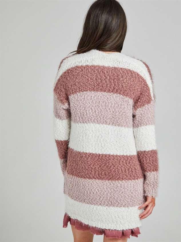 Eyelash Color Block Cardigan Sweater Detail 4 - Altar'd State