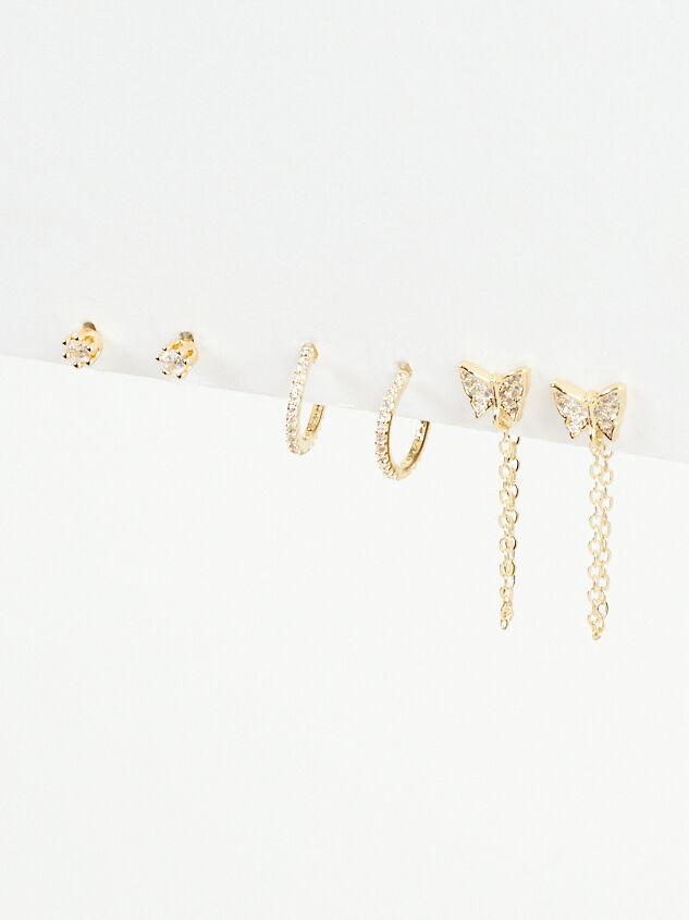 Butterfly Chain Mini Hoop Earring Set - Altar'd State