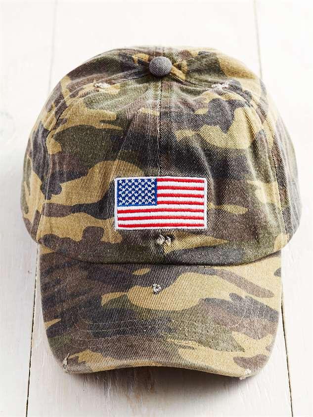 Distressed Camo Patriotic Hat - Altar'd State