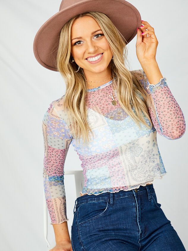 Patchwork Mesh Top - Lilac - Altar'd State