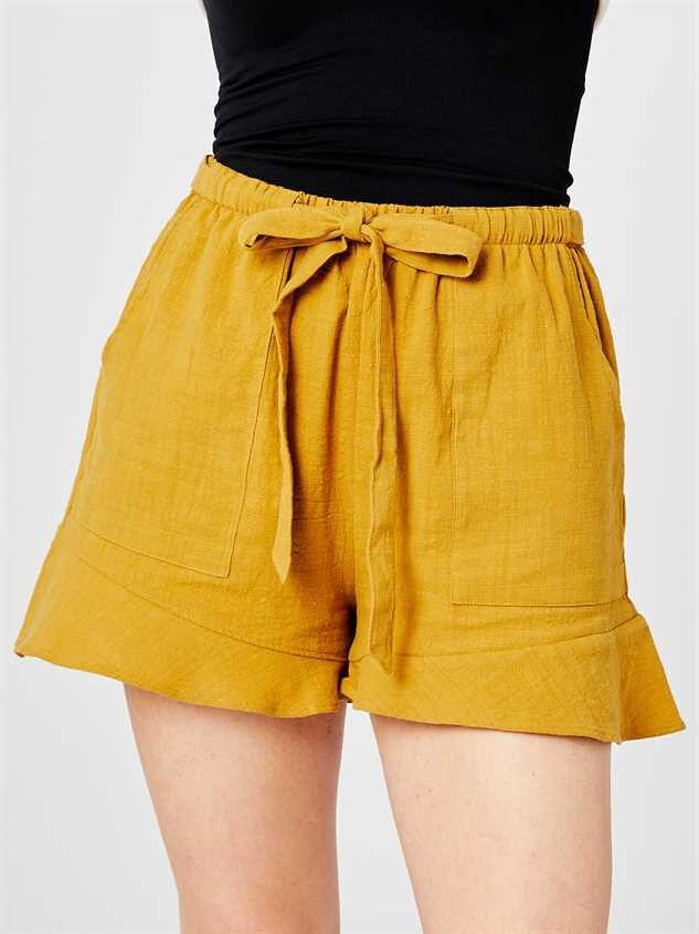 Leta Tie Waist Shorts Detail 2 - Altar'd State