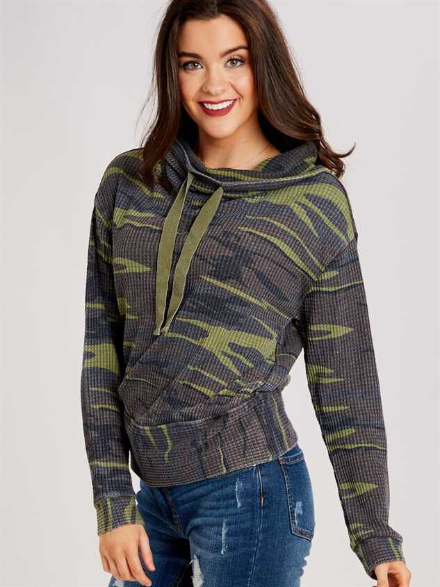 Dreamin' in Thermal Camo Cowl Neck Top Detail 3 - Altar'd State