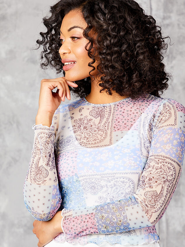 Patchwork Mesh Top - Lilac Detail 4 - Altar'd State