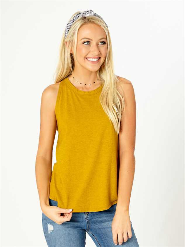 United By Blue High Neck Tank - Mustard - Altar'd State
