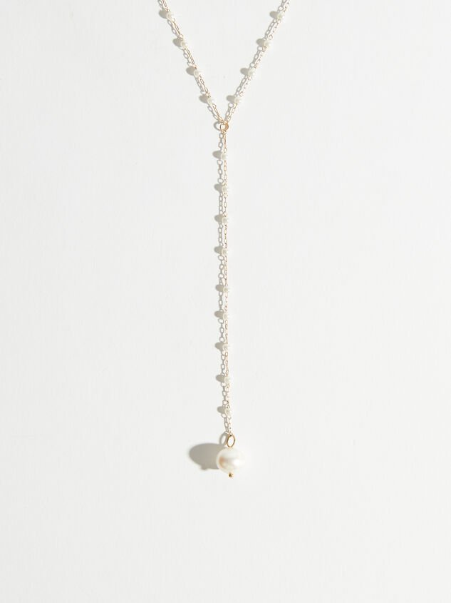 Dainty Pearl Drop Necklace Detail 2 - Altar'd State