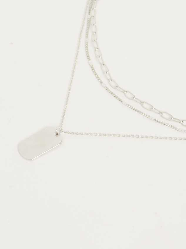 Tag Layer Necklace - Silver Detail 2 - Altar'd State