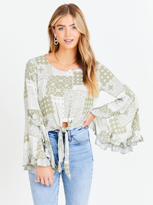 Patchwork Tie Front Top Detail 1 - Altar'd State