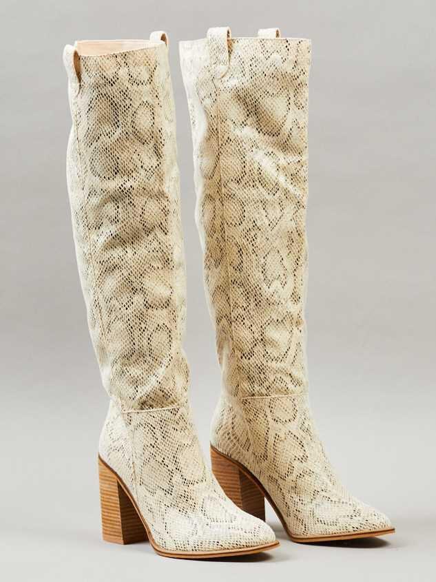 Angel Snakeskin Knee High Boots Detail 2 - Altar'd State