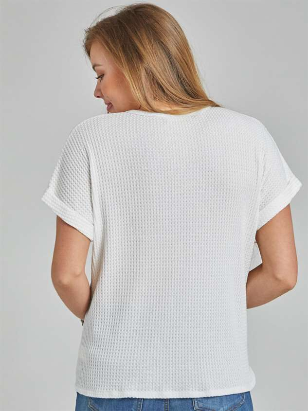 Dreamin' in Thermal Short Sleeve Top Detail 4 - Altar'd State