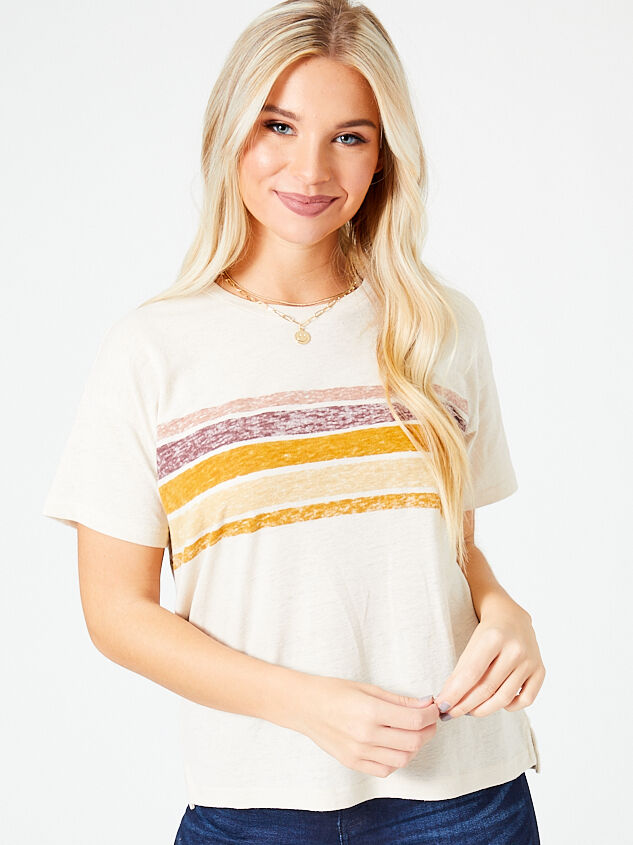 Dusty Sunrise Striped Tee - Altar'd State