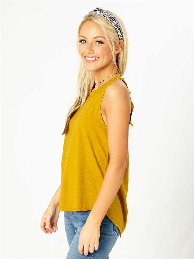 United By Blue High Neck Tank - Mustard Detail 2 - Altar'd State