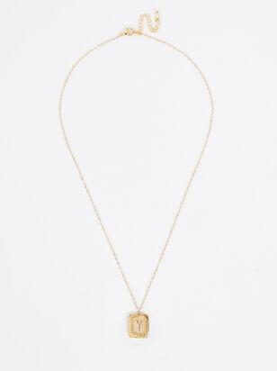 Burst Tag Monogram Necklace - Y - Altar'd State