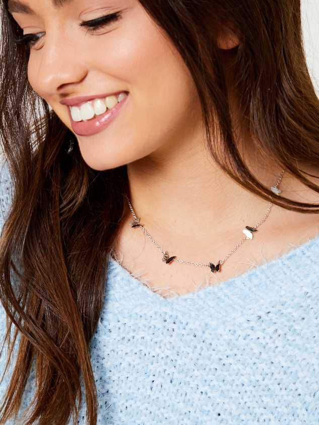 Set Free Butterfly Necklace - Silver - Altar'd State