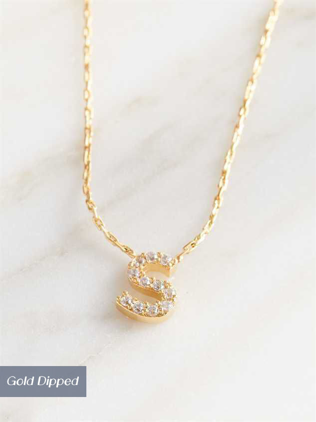 Rhinestone Initial Necklace – S - Altar'd State