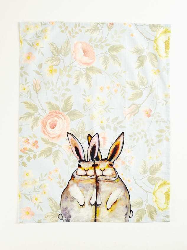 Bunny Floral Tea Towel Detail 2 - Altar'd State